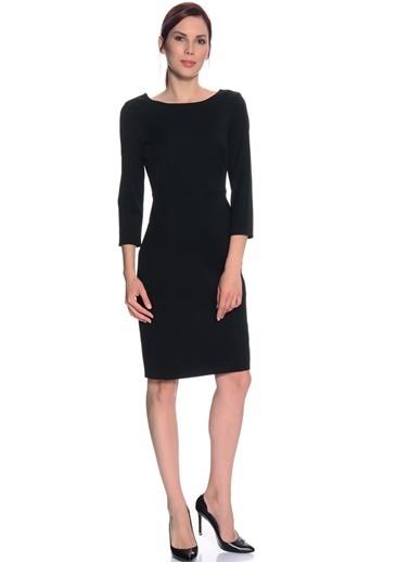 Limon Company O Yaka Uzun Kollu Standart Fit Kadın Diz Üstü Elbise Siyah